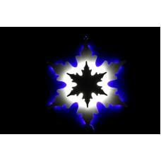 Снежинка светодиодная синяя/белая с динамикой c контражуром 46*46 см
