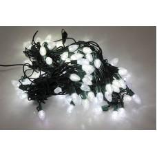 Гирлянда Ягоды 3,5х2см, белая, темно-зеленый провод, 20м