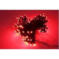 Светодиодная гирлянда LED-PL-100-10M-240V-R/BG красная, темно зеленый провод, 10м