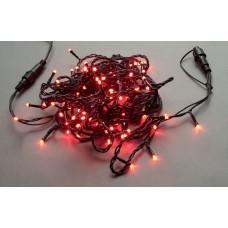Светодиодная гирлянда LED-PLS-100-10M-240V-R/BL-W/O, красная, черный провод , соединяемая, (без силового шнура) 10м