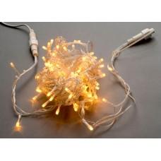 Светодиодная гирлянда LED-PLS-100-10M-240V-Y/C-W/O, желтая, прозрачный провод, соединяемая (без силового шнура) 10м