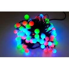 Светодиодная гирлянда шарики LED-PLR-100L-10M-25MM-240V-RGB/BL-W/O быстрая смена цветов, черный провод (без силового шнура) 10М