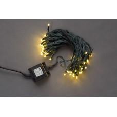 Светодиодная гирлянда LED-PL-56L-14M-24V-WW/DG белая теплая, темно-зеленый провод, 24V, 14 м