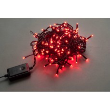 Светодиодная гирлянда LED-BW-200-20M-240V-R красная, черный провод, 20м