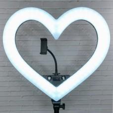 Кольцевая лампа Сердце RGB 49 см с сумкой и штативом (цветная)