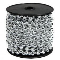 Бусы пластиковые, однотонные, серебро, диаметр 10мм, длина 10м.