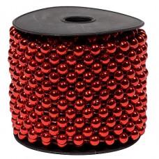Бусы пластиковые, однотонные, красный, диаметр 10мм, длина 10м.