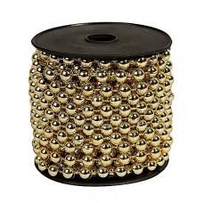 Бусы пластиковые, однотонные, золото, диаметр 10мм, длина 10м.