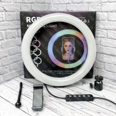 Кольцевая лампа MJ26 RGB 26 см со штативом (цветная)