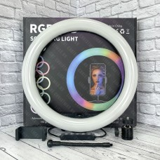 Кольцевая лампа MJ33 RGB 33 см со штативом (цветная)