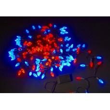 Светодиодная гирлянда LED-XS-160-13M-240V ягода, красно-синяя, черный провод, 13M