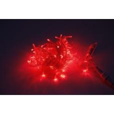 Светодиодная гирлянда LED-PLS-100-10M-240V-R/C-F(R), красная, прозрачный провод, красный FLASH, соединяемая, 10м