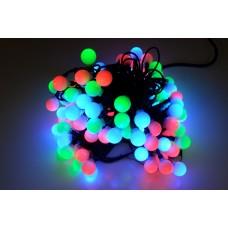 Светодиодная гирлянда шарики LED-PLR-100L-10M-25MM-240V-RGB Fast, RGB быстрая смена цветов, черный провод, 10М
