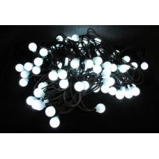 Светодиодная гирлянда шарики LED-PLR-100-15M240V-W/BL белый цвет, черный каучуковый провод (без силового шнура) 15М