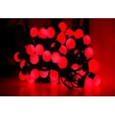 Светодиодная гирлянда шарики LED-PLR-100-15M-240V-R/WH красный цвет, белый каучуковый провод, 15М