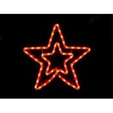 Звезда светодиодная красная с красным мерцанием 55*54 см