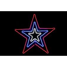 Звезда светодиодная белая/синяя/красная, c мерцанием, 83*83 см