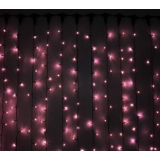 Светодиодный занавес LED-PL-3720-2*3M-240V-P/BL-T (розовые светодиоды/черный провод) 2*3 м