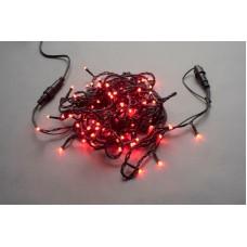 Светодиодная гирлянда LED-PLS-200-20M-240V-R/BL-W/O, красная, черный провод, соединяемая (без силового шнура) 20м