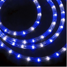 Дюралайт светодиодный трёхжильный LED-XD-3W-100M-240V(B/W) синий/белый, 13мм, с динамикой, кратность резки 4м