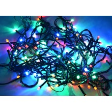 Светодиодная гирлянда LED-PL-140-13.5M-240V-M/DG-S (M-O/R/Y/G) мульти, темно-зеленый провод, 13,5м