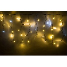 Светодиодная бахрома LED-RPLR-160-4.8M-240V-WW/BL-F(W) белая теплая, белый FLASH, черный провод, 4,8*0,6 м