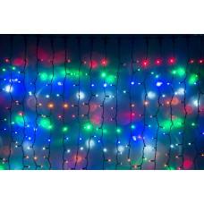 Светодиодный занавес LED-PLRS-3720-240V-2*3М-M/BL (мульти светодиоды/черный каучуковый провод) 2*3 м