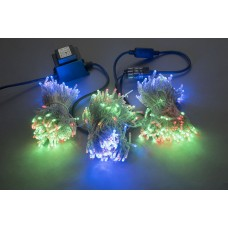 Светодиодный спайдер LED-BS-200*3-20M*3-24V-M мульти, синий Flash, прозрачный провод, 3 нити по 20 м