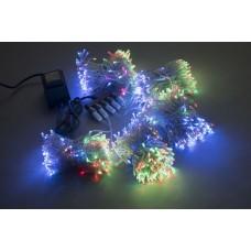 Светодиодный спайдер LED-BS-200*5-20M*5-24V-M мульти, синий Flash, прозрачный провод, 5 нитей по 20 м