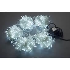 Светодиодный спайдер LED-PLS-200*5-20M*5-24V-W/C-F(W) белый, белый Flash, прозрачный провод, 5 нитей по 20 м с трансформатором