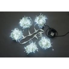 Светодиодный спайдер LED-PLS-200*5-20M*5-24V-W/W белый, белый провод, 5 нитей по 20 м, с трансформатором