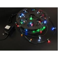 Светодиодный клип-лайт LED-LP-200-30M-12V-M мульти, темно-зеленый провод, 30М, 200 светодиодов
