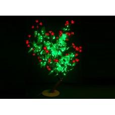 Куст светодиодный красные цветы с зелеными листьями 0,8 м