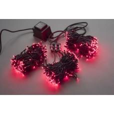 Светодиодный спайдер LED-BS-200*3-20M*3-24V-R красный, черный провод, 3 нити по 20 м