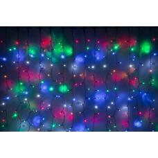 Светодиодный занавес LED-PLS-5720-240V-2*6М-M/BL (мульти светодиоды/черный провод) 2*6 м