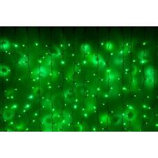 Светодиодный занавес LED-PLRS-3720-240V-2*3М-G/BL (зеленые светодиоды/черный каучуковый провод) 2*3 м