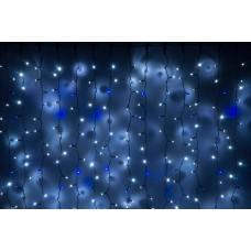 Светодиодный занавес LED-PLS-5720-240V-2*6М-W/BL-F(Blue) (белые светодиоды/черный провод) Flash, 2*6 м